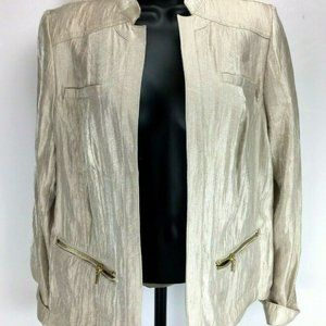 Chico's Blazer Gold Sz 1 Medium Open Front Metalli